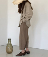 18S/S-02.BACK BUTTON CROP PANTS [BROWN]