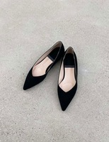 Suede stiletto flat shoes